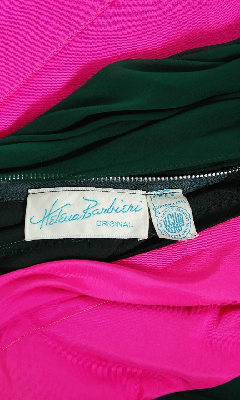 1962 Helena Barbieri Couture Magenta Silk & Forest Green Chiffon Strapless Gown For Sale 2