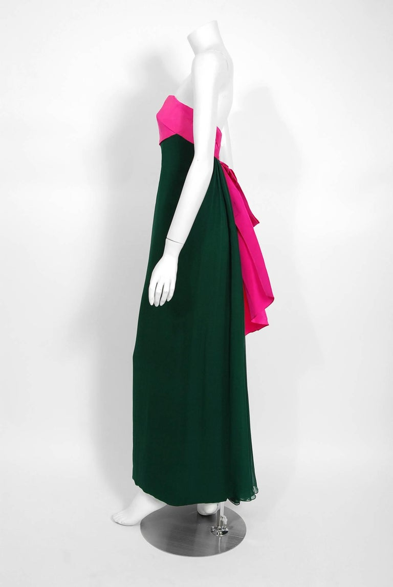 1962 Helena Barbieri Couture Magenta Silk & Forest Green Chiffon Strapless Gown In Excellent Condition For Sale In Beverly Hills, CA