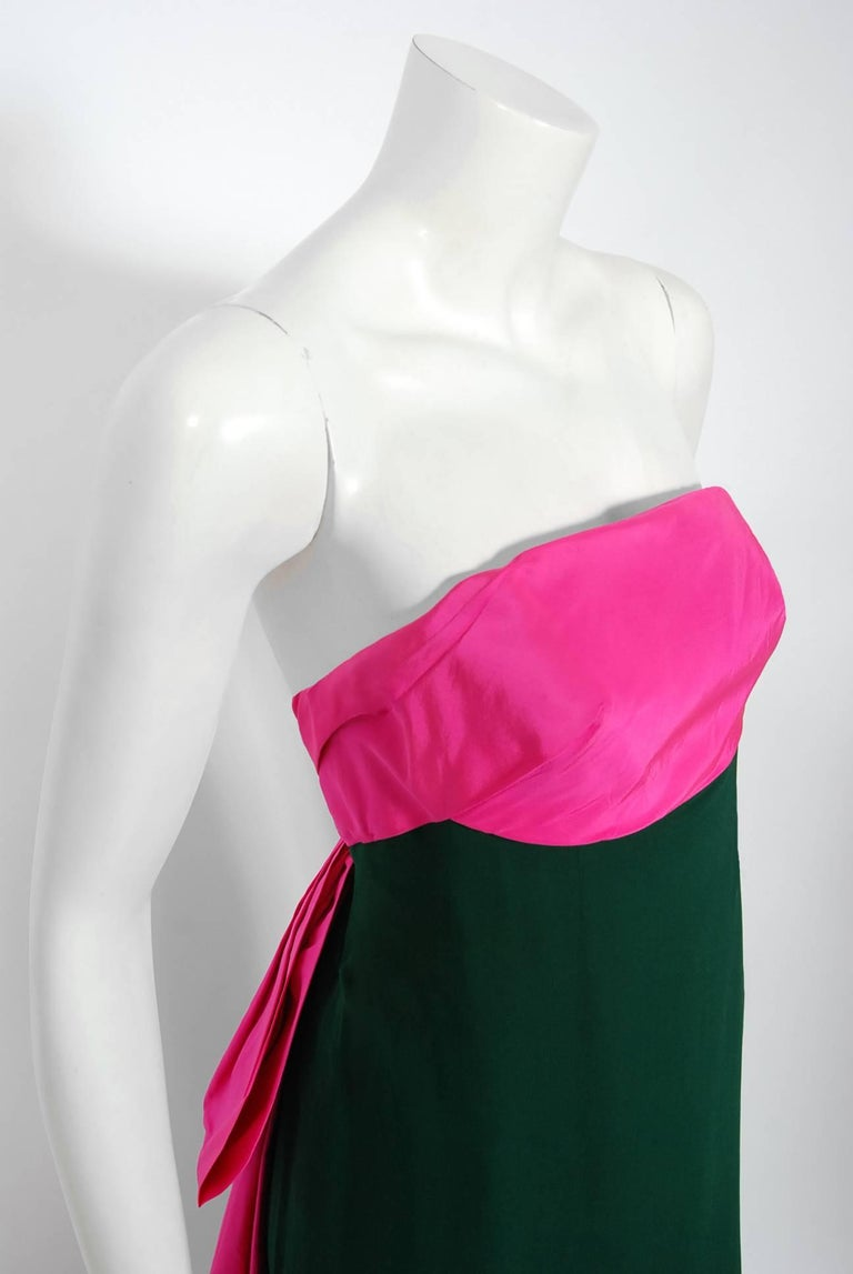 Pink 1962 Helena Barbieri Couture Magenta Silk & Forest Green Chiffon Strapless Gown For Sale