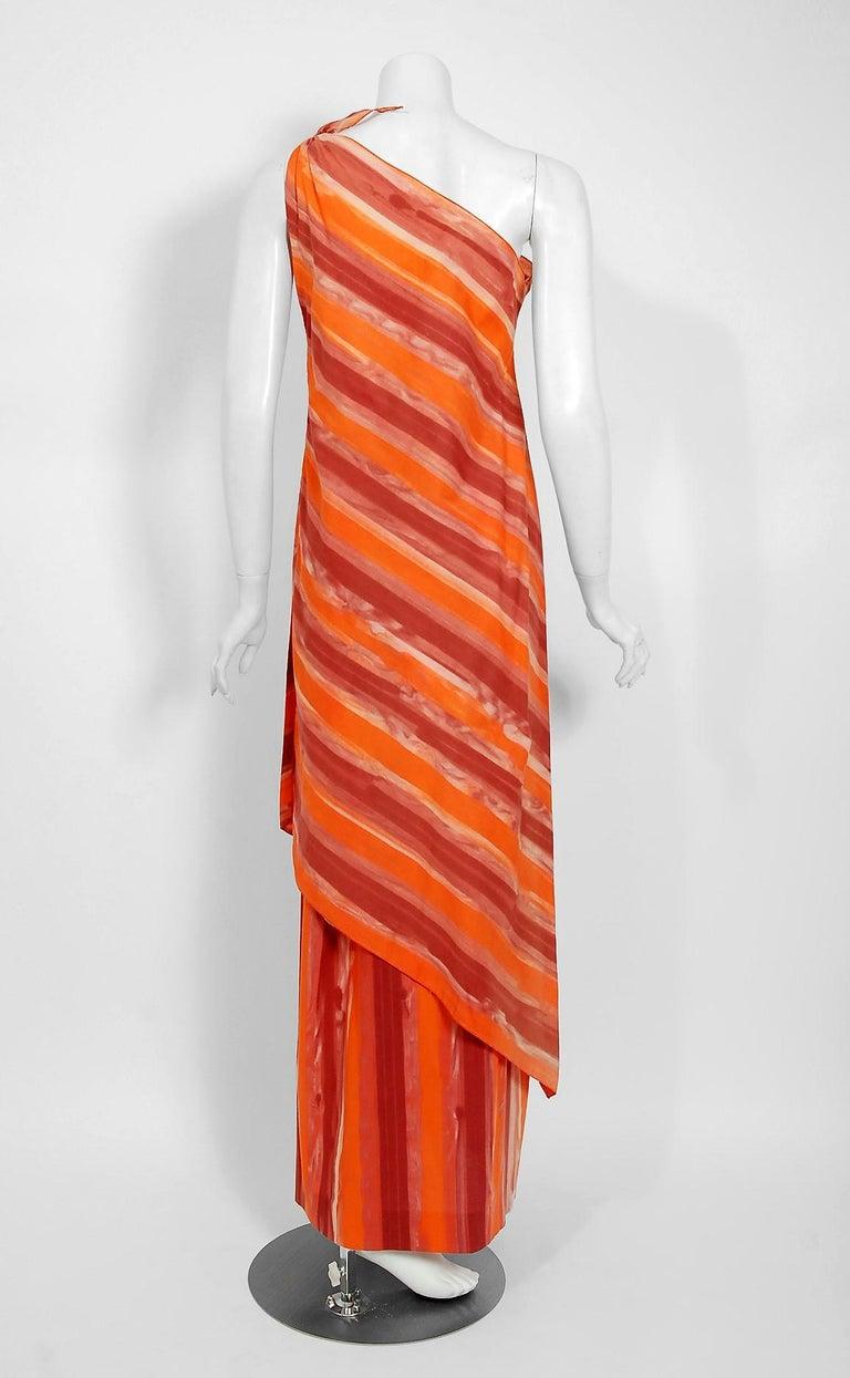 1970's Paco Rabanne Orange Striped Cotton One-Shoulder Asymmetric Dress & Skirt For Sale 3