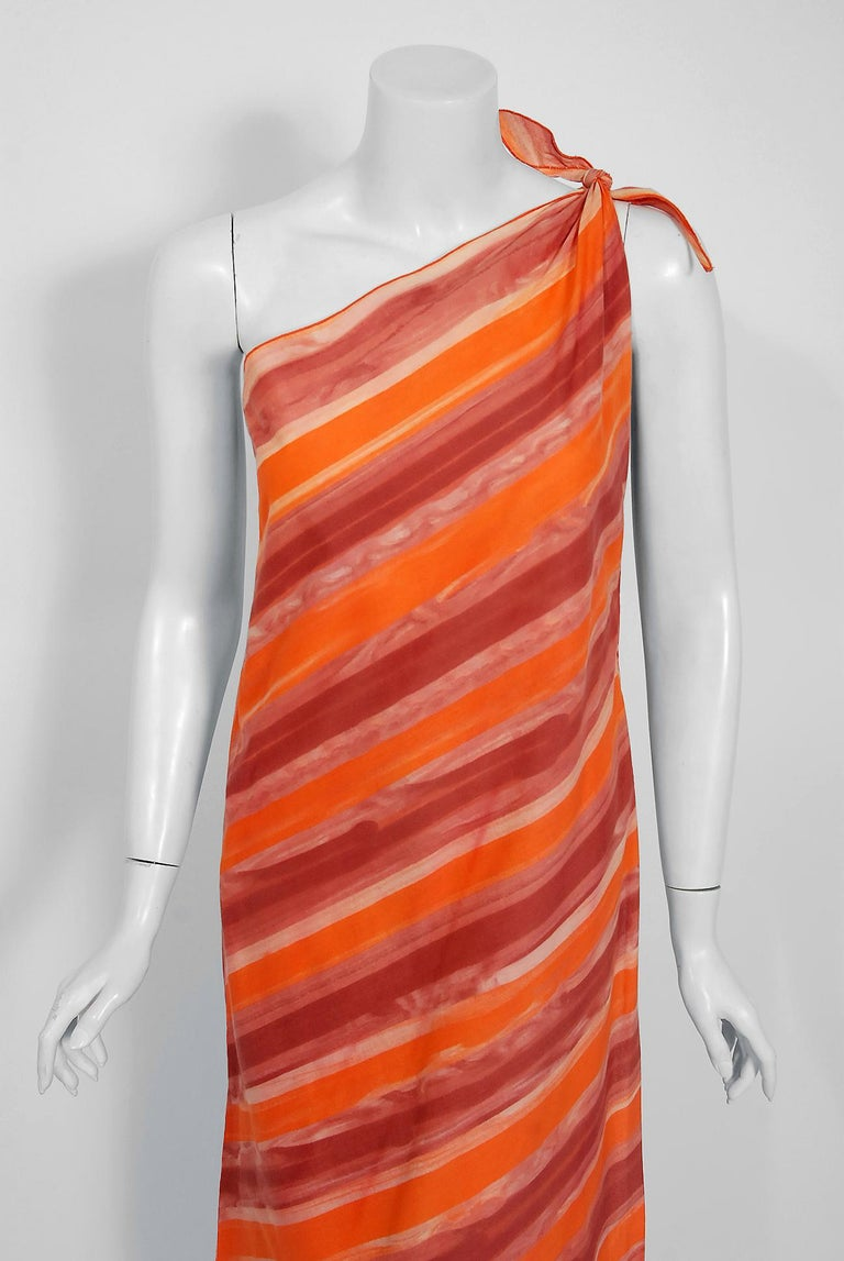 Stunning Paco Rabanne designer orange ombré cotton ensemble dating back to the mid 1970's. Paco Rabanne's architectural background led him to use interesting techniques when he created his garments. These fashion experiments were important in