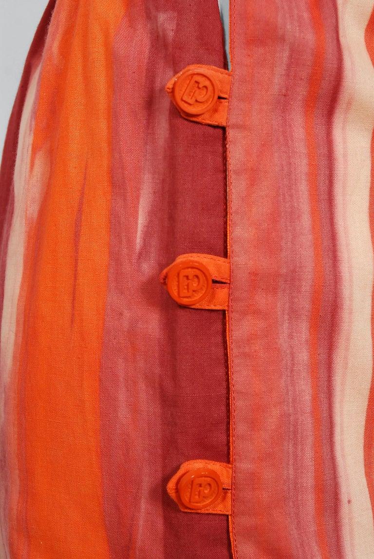 1970's Paco Rabanne Orange Striped Cotton One-Shoulder Asymmetric Dress & Skirt For Sale 2