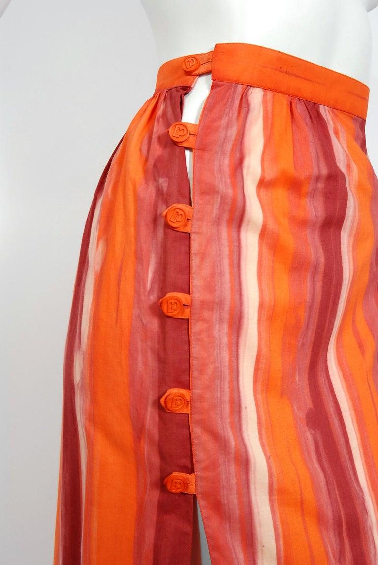 1970's Paco Rabanne Orange Striped Cotton One-Shoulder Asymmetric Dress & Skirt For Sale 1