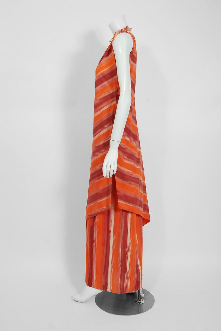 1970's Paco Rabanne Orange Striped Cotton One-Shoulder Asymmetric Dress & Skirt In Good Condition For Sale In Beverly Hills, CA