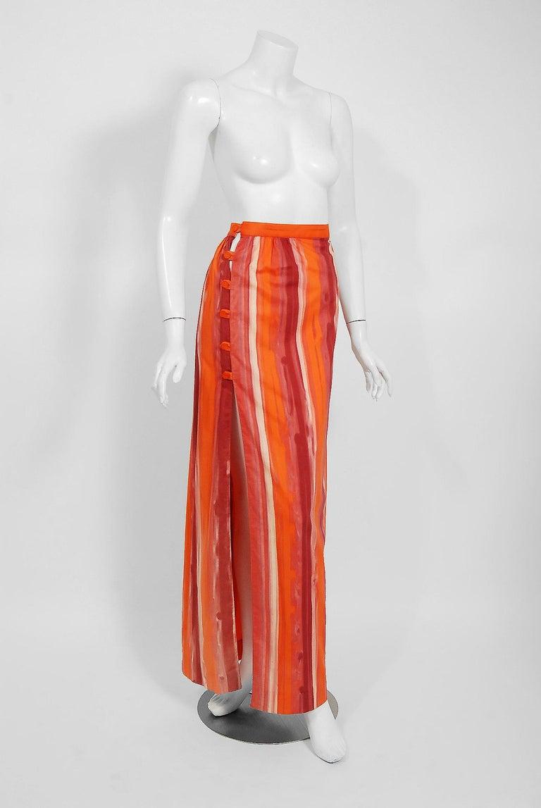 Women's 1970's Paco Rabanne Orange Striped Cotton One-Shoulder Asymmetric Dress & Skirt For Sale