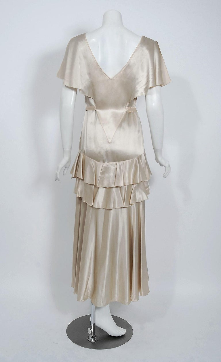 1930's Ivory Creme Satin Flutter Sleeve Plunge Belted Bias-Cut Tiered Deco Gown  3