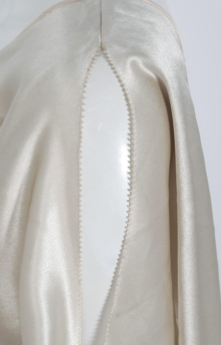 1930's Ivory Creme Satin Flutter Sleeve Plunge Belted Bias-Cut Tiered Deco Gown  2