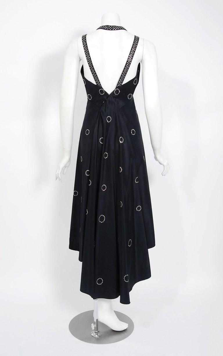1930's Rhinestone Studded Deco Circles Black Silk Bias-Cut Waterfall Train Dress For Sale 2