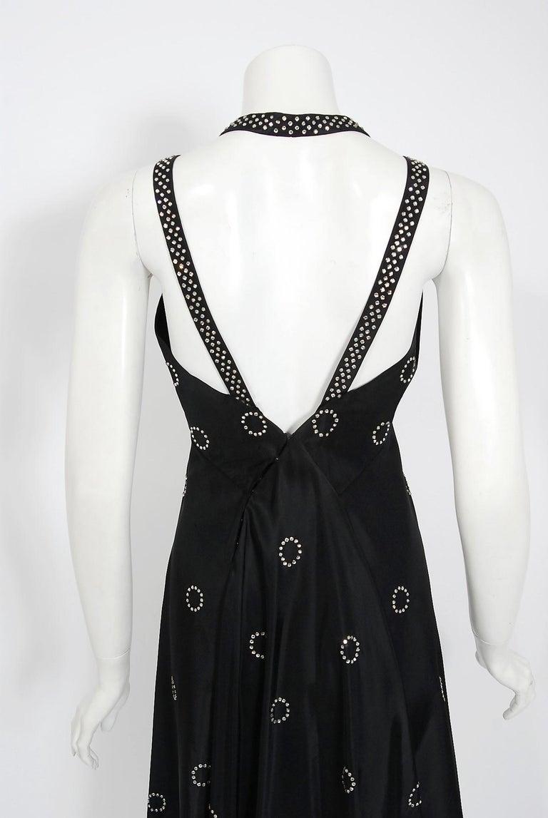 1930's Rhinestone Studded Deco Circles Black Silk Bias-Cut Waterfall Train Dress For Sale 3