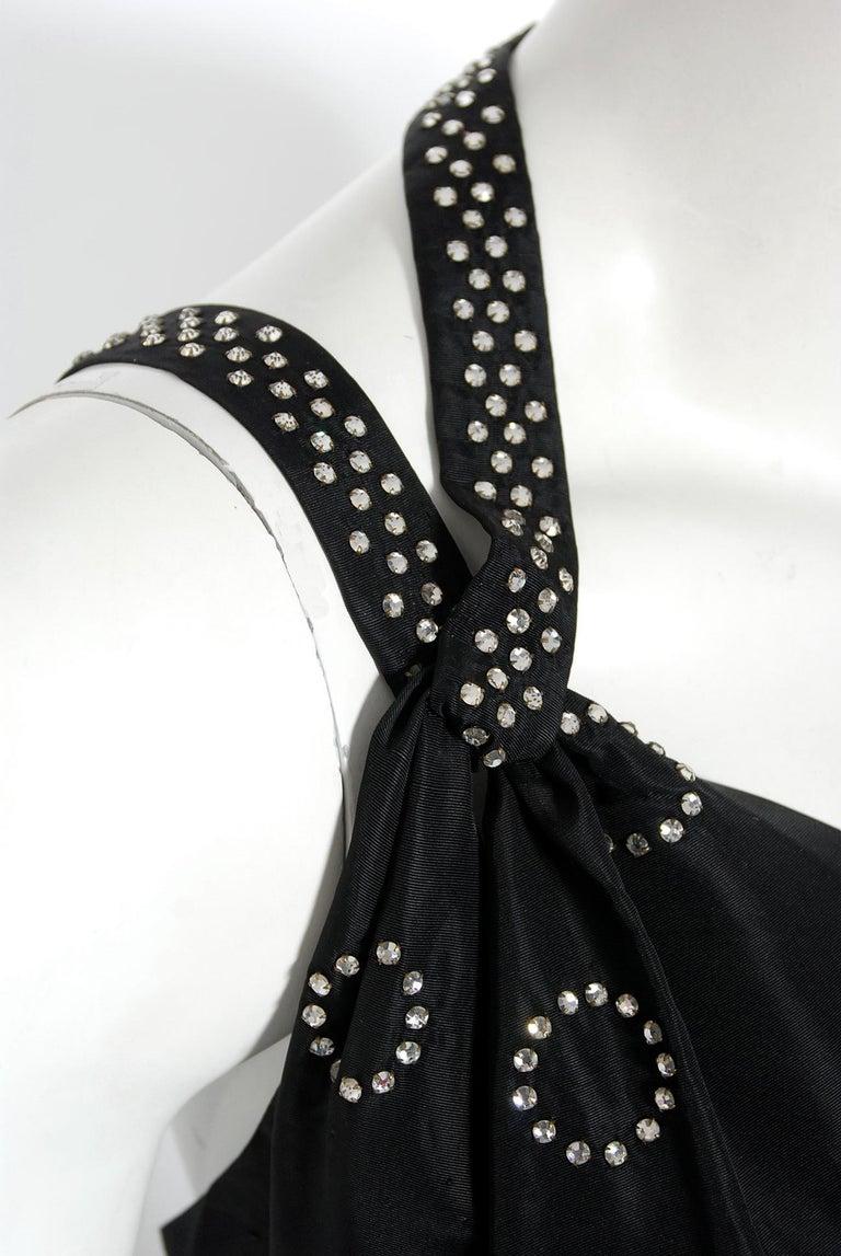 Women's 1930's Rhinestone Studded Deco Circles Black Silk Bias-Cut Waterfall Train Dress For Sale