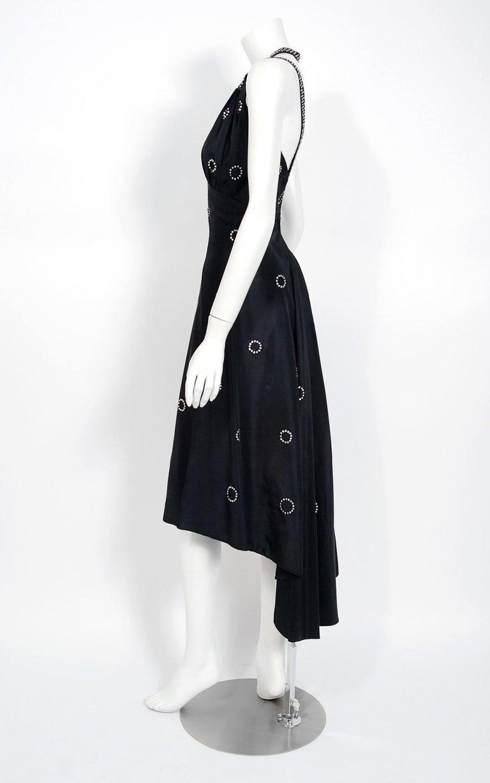 1930's Rhinestone Studded Deco Circles Black Silk Bias-Cut Waterfall Train Dress For Sale 1