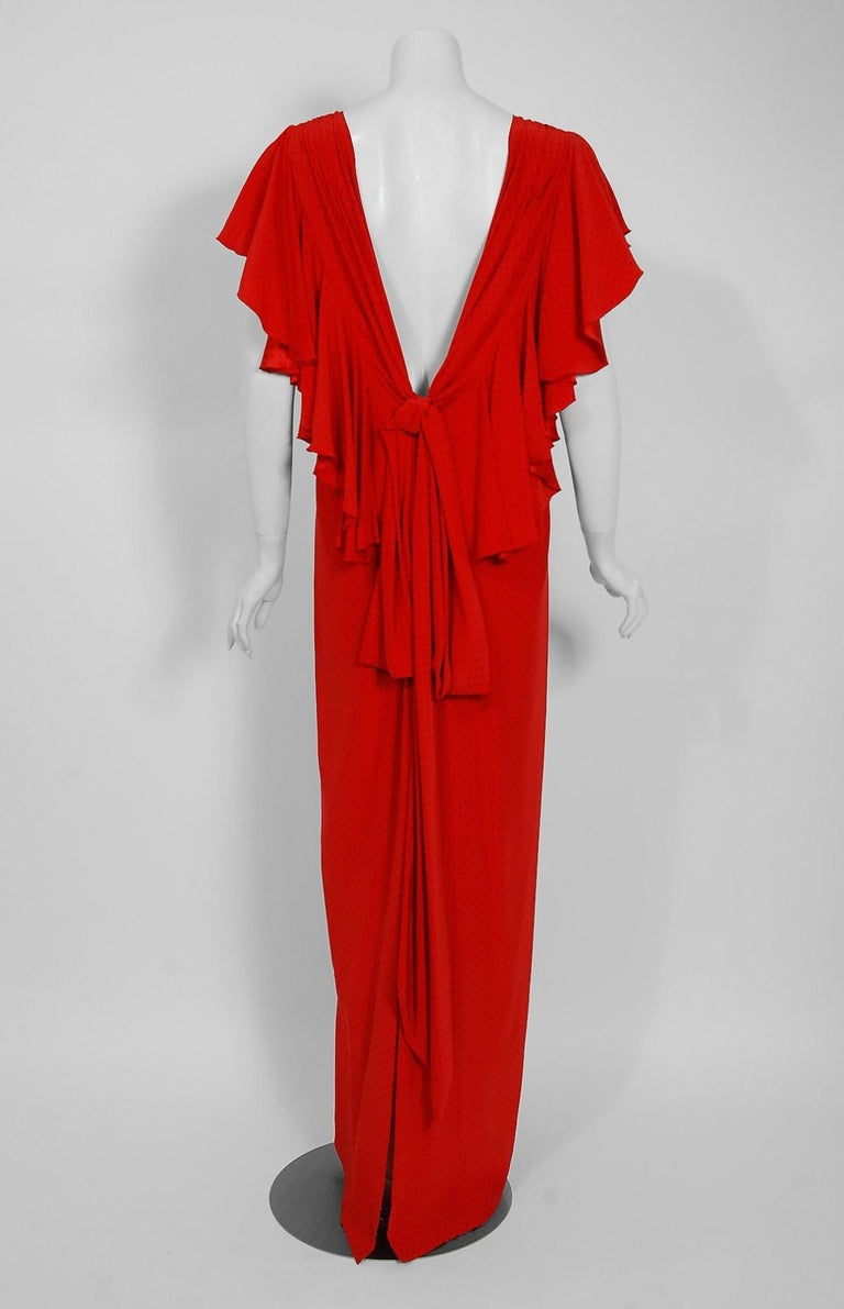 Vintage 1979 Yves Saint Laurent Haute-Couture Red Dotted Silk Backless Gown For Sale 2