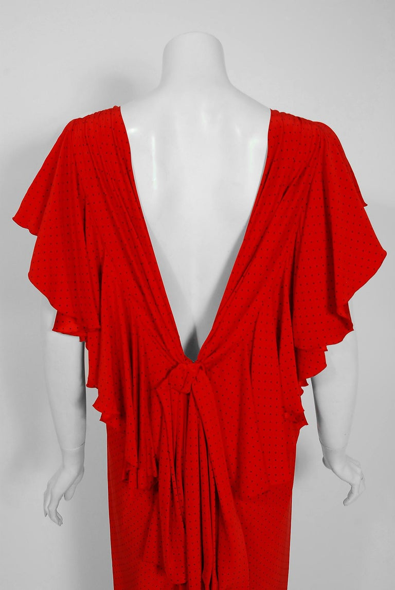 Vintage 1979 Yves Saint Laurent Haute-Couture Red Dotted Silk Backless Gown For Sale 3