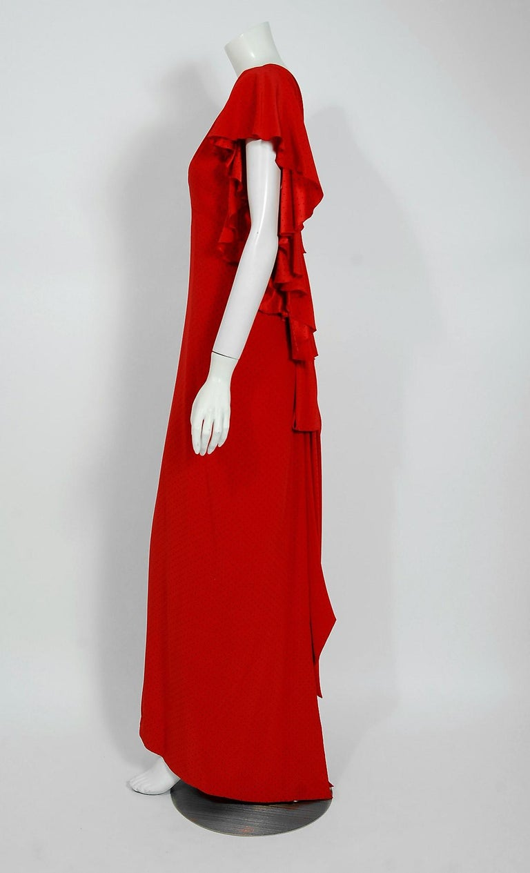 Vintage 1979 Yves Saint Laurent Haute-Couture Red Dotted Silk Backless Gown For Sale 1