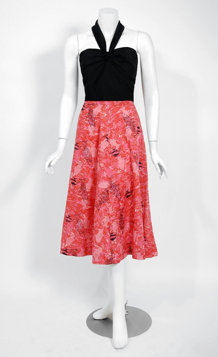 1940's Swimming Fish Novelty Print Black & Pink Cotton Halter Dress w/ Bolero For Sale 1