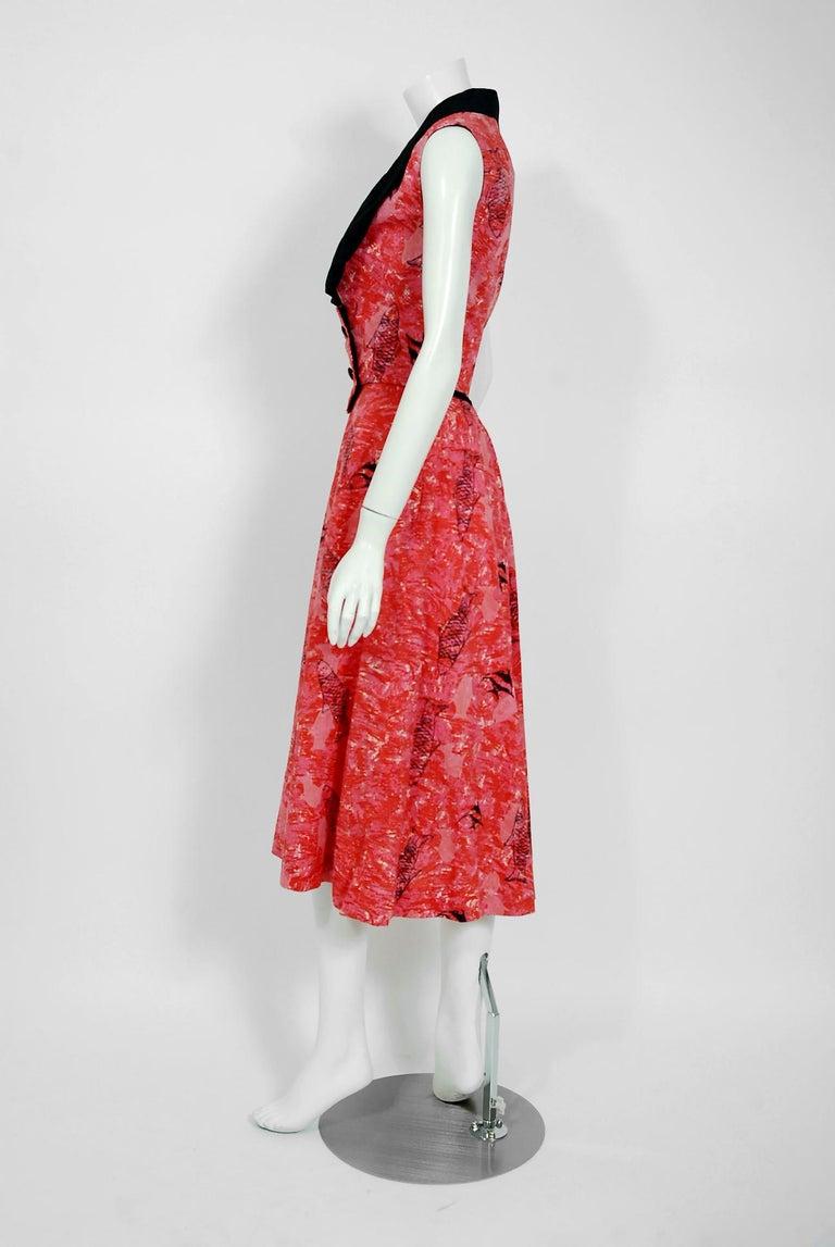 Women's 1940's Swimming Fish Novelty Print Black & Pink Cotton Halter Dress w/ Bolero For Sale