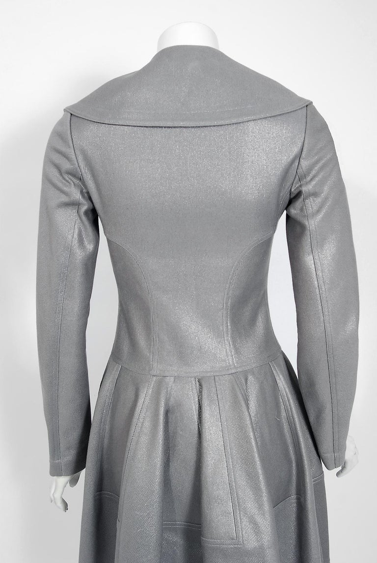 Azzedine Alaia Metallic Silver Cotton Double Breasted Princess Coat Jacket, 2005 For Sale 2