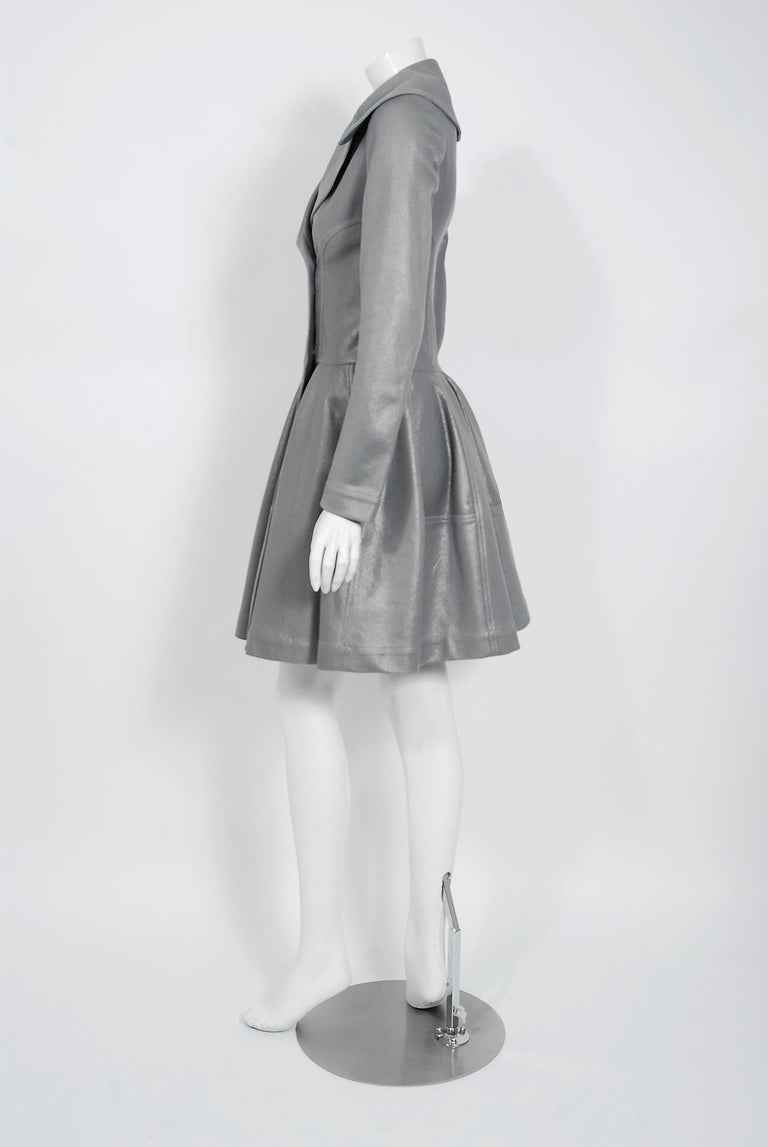 Azzedine Alaia Metallic Silver Cotton Double Breasted Princess Coat Jacket, 2005 In Excellent Condition For Sale In Beverly Hills, CA