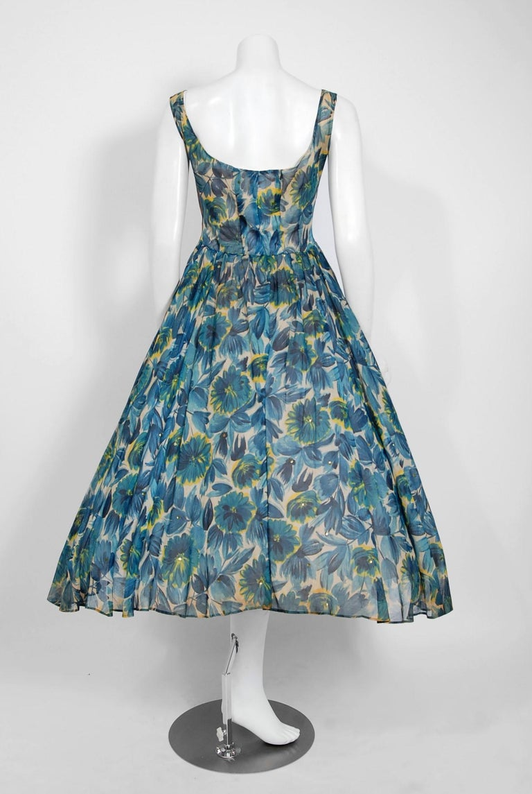 1950's Will Steinman Sequin Blue Floral Silk-Organza & Ruffle Tulle Party Dress For Sale 2