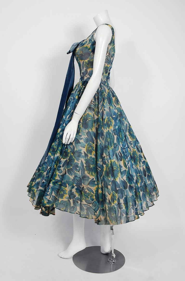1950's Will Steinman Sequin Blue Floral Silk-Organza & Ruffle Tulle Party Dress For Sale 1