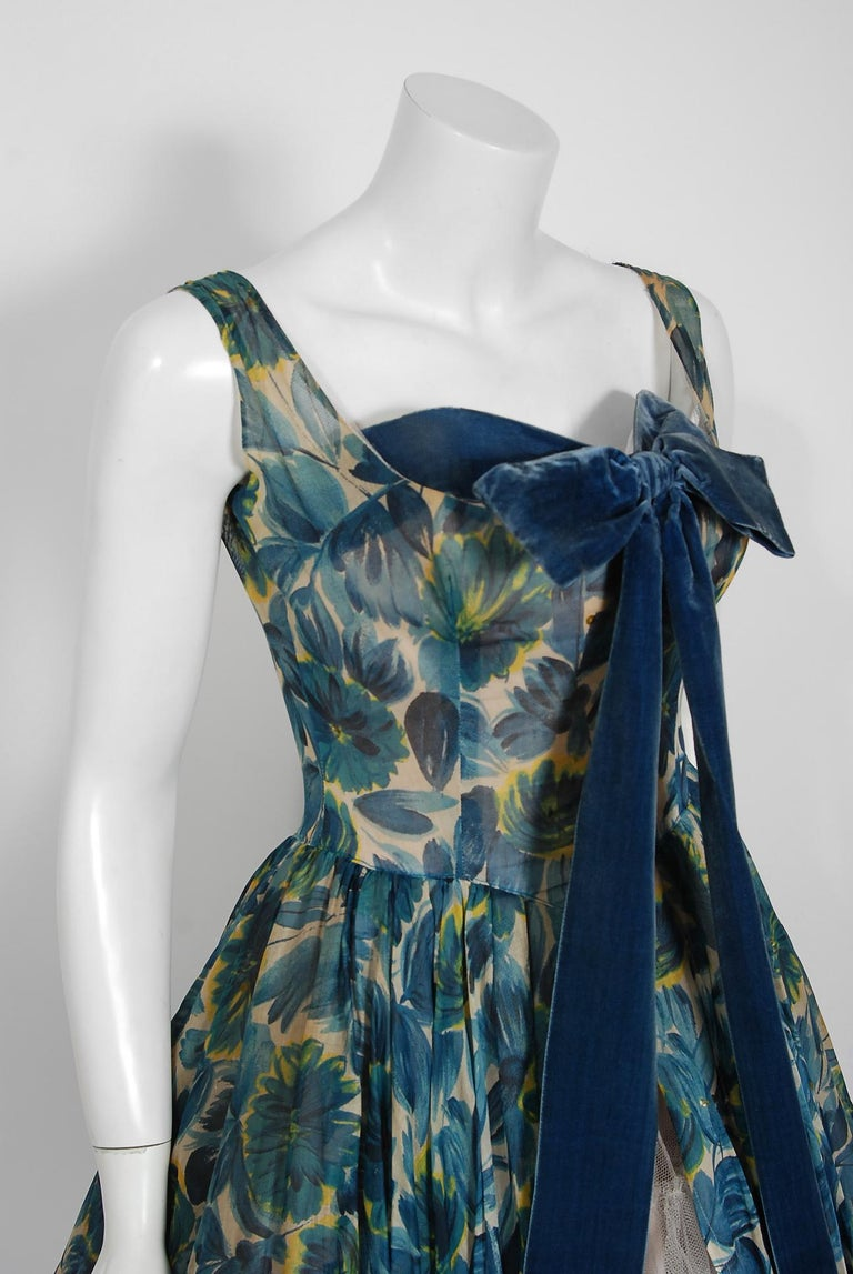 1950's Will Steinman Sequin Blue Floral Silk-Organza & Ruffle Tulle Party Dress In Good Condition For Sale In Beverly Hills, CA