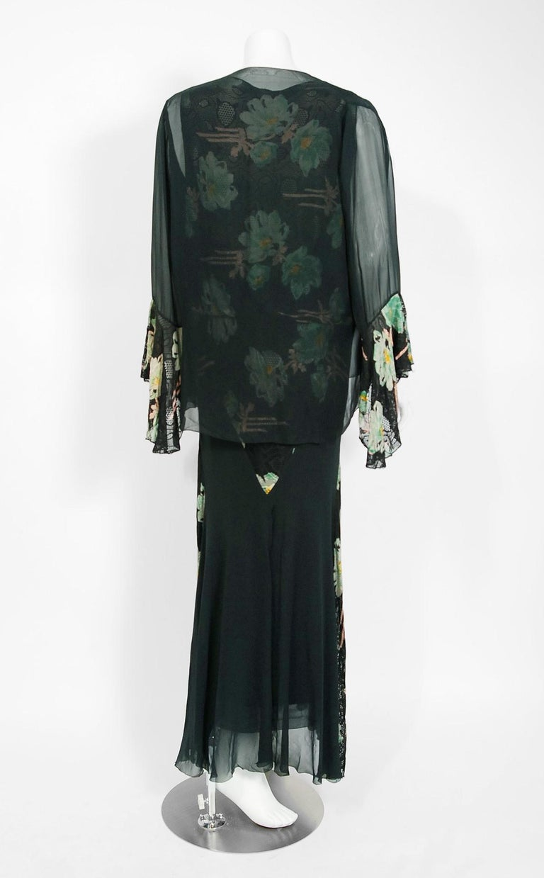 Vintage 1930's Green and Black Floral Print Lace Chiffon Bias-Cut Gown & Jacket For Sale 2