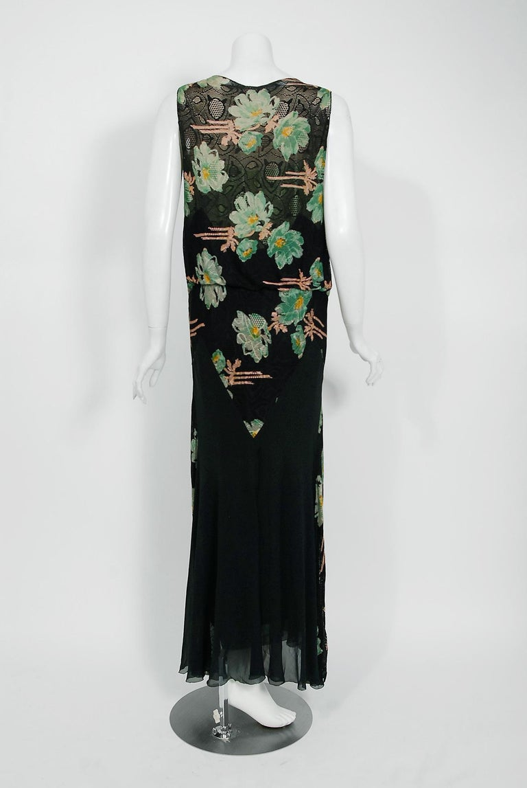 Vintage 1930's Green and Black Floral Print Lace Chiffon Bias-Cut Gown & Jacket For Sale 6