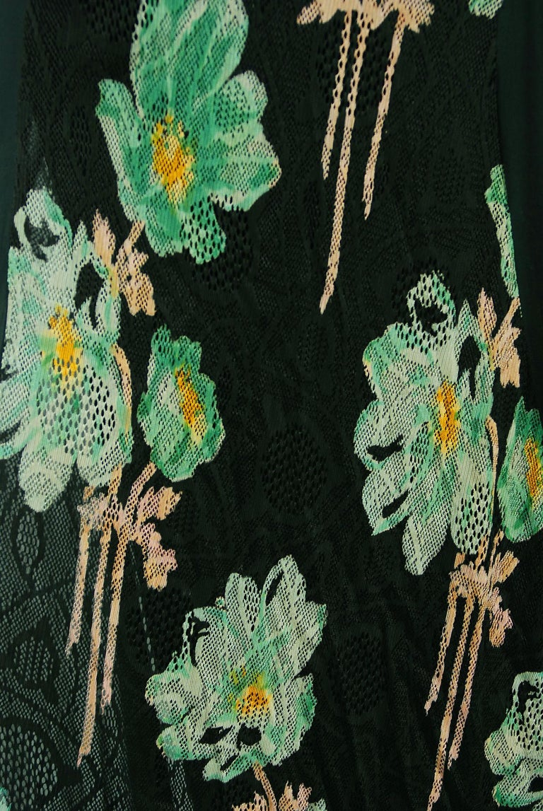 Vintage 1930's Green and Black Floral Print Lace Chiffon Bias-Cut Gown & Jacket For Sale 5