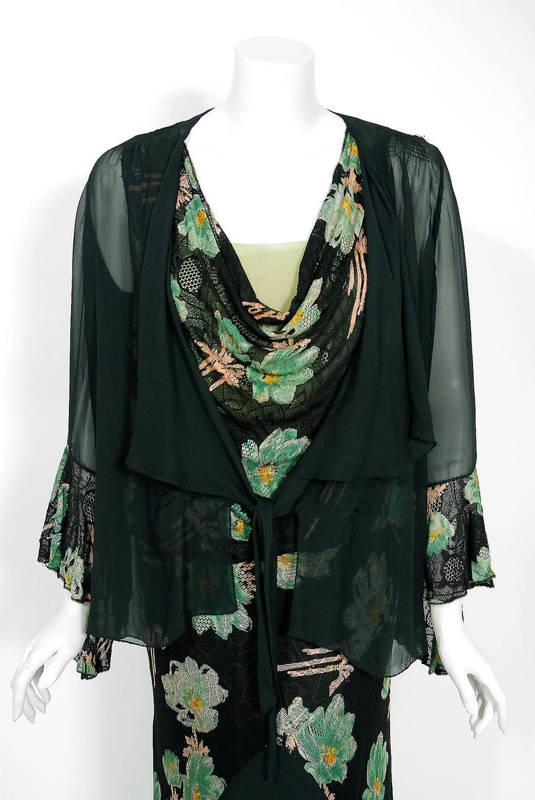 Vintage 1930's Green and Black Floral Print Lace Chiffon Bias-Cut Gown & Jacket In Good Condition For Sale In Beverly Hills, CA
