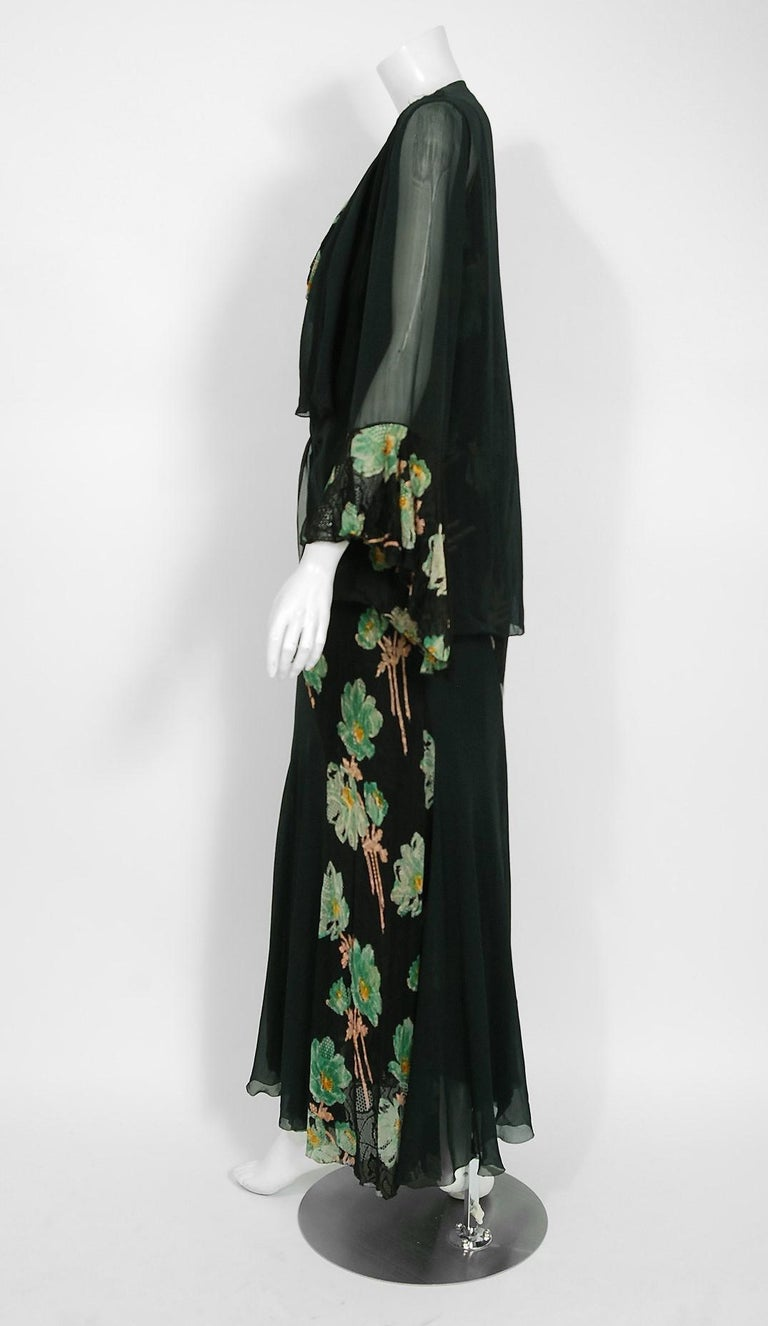 Vintage 1930's Green and Black Floral Print Lace Chiffon Bias-Cut Gown & Jacket For Sale 1