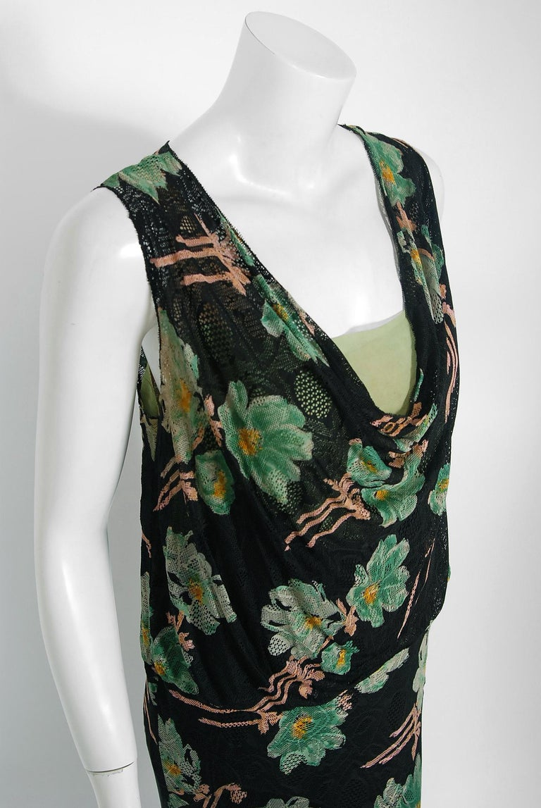 Vintage 1930's Green and Black Floral Print Lace Chiffon Bias-Cut Gown & Jacket For Sale 4