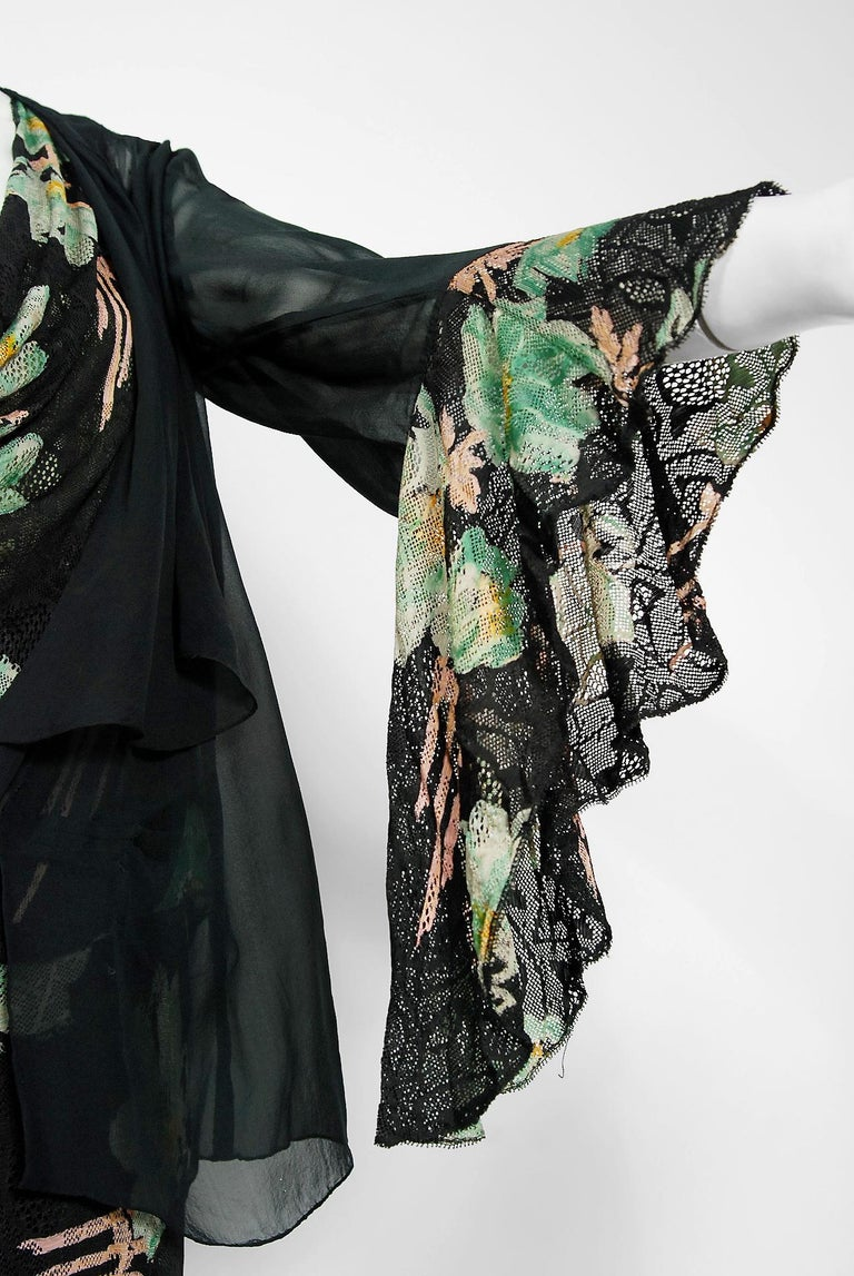 Women's Vintage 1930's Green and Black Floral Print Lace Chiffon Bias-Cut Gown & Jacket For Sale