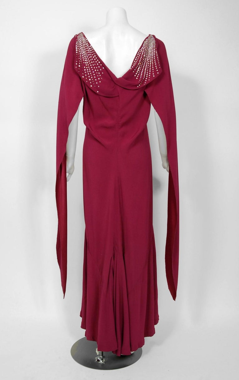 1930's Couture Rhinestone Studded Plum Crepe Winged Sleeve Bias-Cut Deco Gown For Sale 1