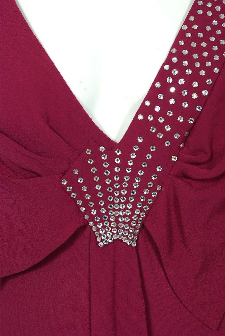 1930's Couture Rhinestone Studded Plum Crepe Winged Sleeve Bias-Cut Deco Gown In Excellent Condition For Sale In Beverly Hills, CA