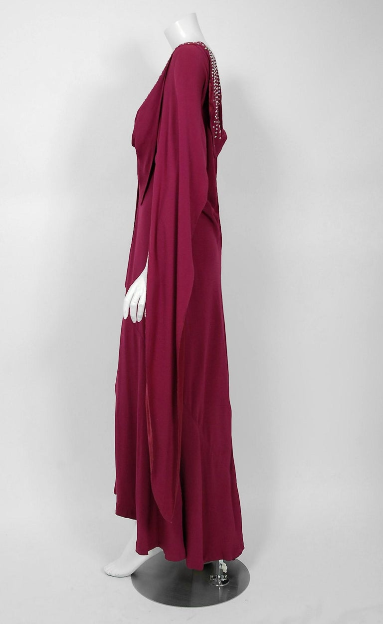 Women's 1930's Couture Rhinestone Studded Plum Crepe Winged Sleeve Bias-Cut Deco Gown For Sale