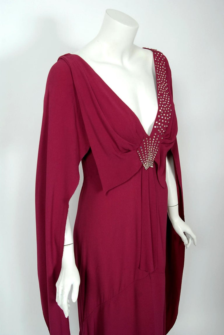 Red 1930's Couture Rhinestone Studded Plum Crepe Winged Sleeve Bias-Cut Deco Gown For Sale