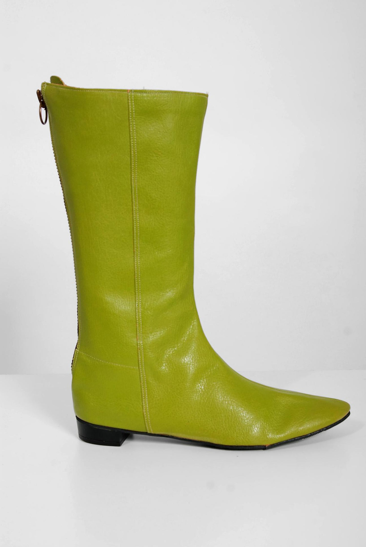 8256427c3e9 1960 s Olive Green Leather Mod Zipper Back Flat Mid-Calf Designer Boots For  Sale at 1stdibs