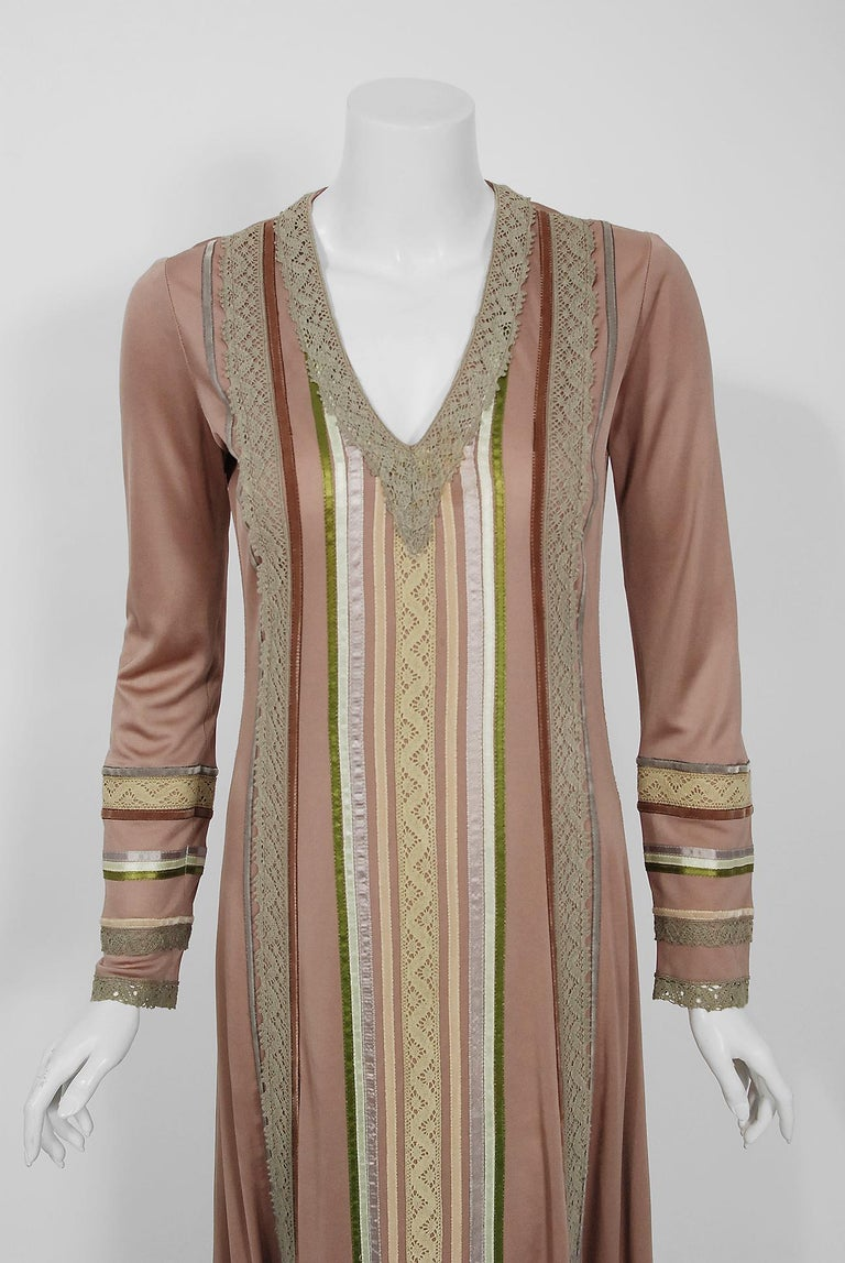 Brown 1975 Sant' Angelo Taupe Jersey Knit Ribbon Lace Applique Bohemian Maxi Dress For Sale