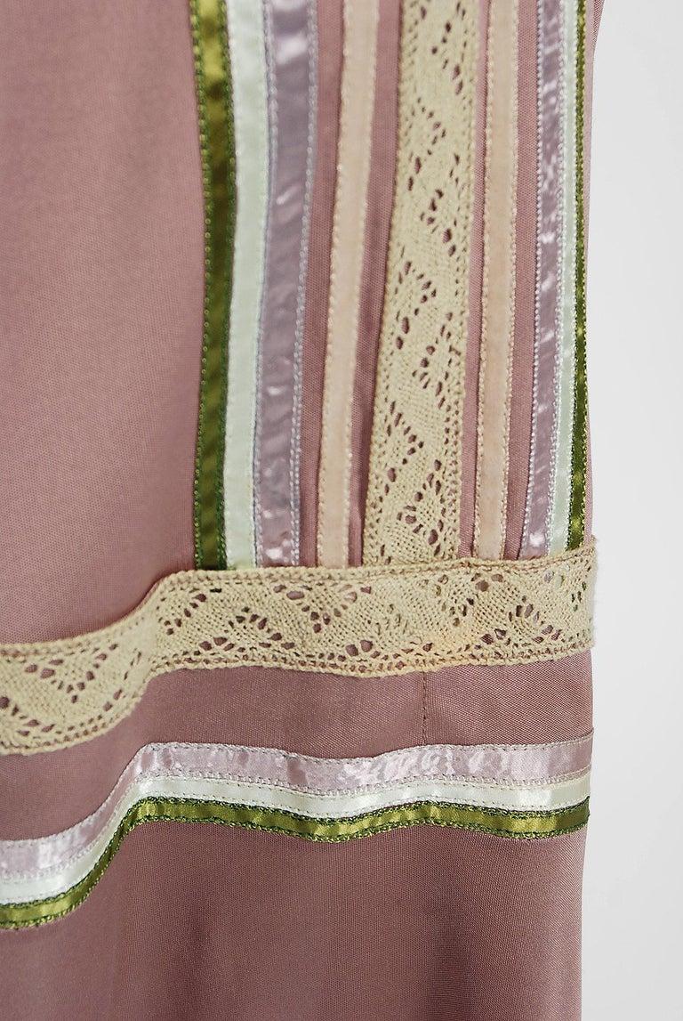 Women's 1975 Sant' Angelo Taupe Jersey Knit Ribbon Lace Applique Bohemian Maxi Dress For Sale