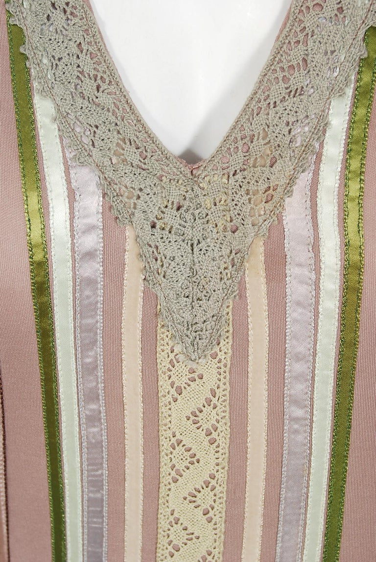 1975 Sant' Angelo Taupe Jersey Knit Ribbon Lace Applique Bohemian Maxi Dress In Good Condition For Sale In Beverly Hills, CA