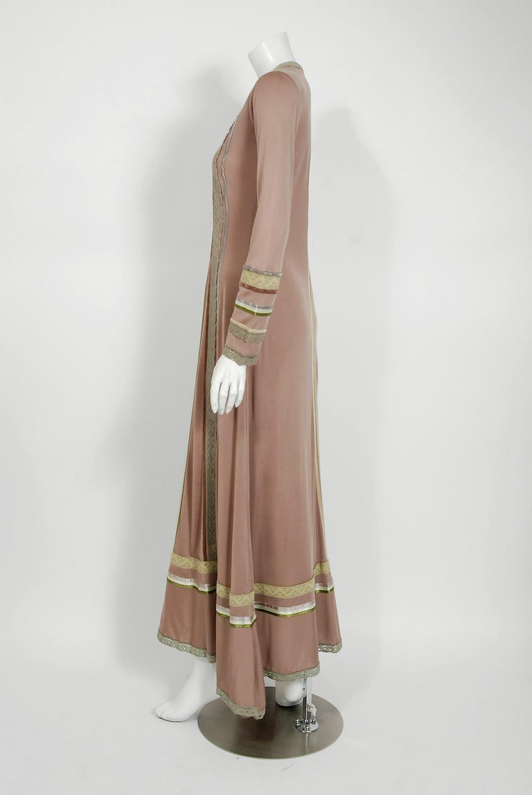 1975 Sant' Angelo Taupe Jersey Knit Ribbon Lace Applique Bohemian Maxi Dress For Sale 1