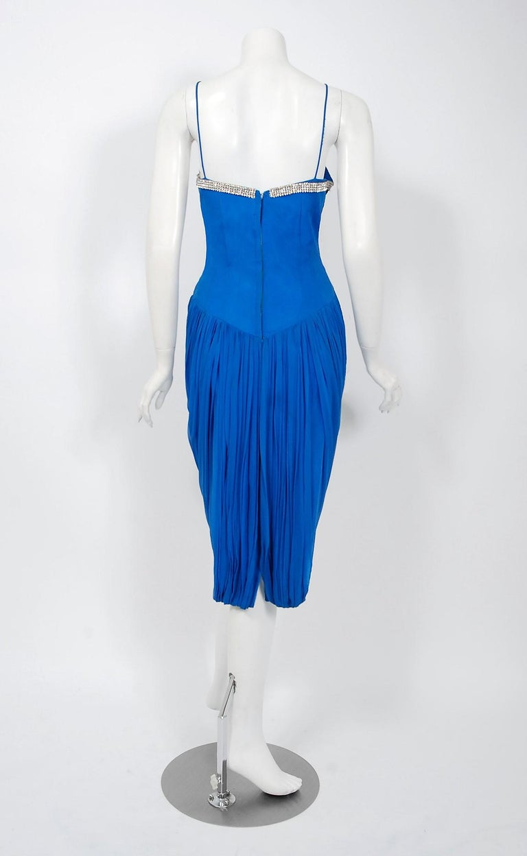 1950's Lilli Diamond Sapphire Blue Chiffon Rhinestone Draped Cocktail Dress  For Sale 2
