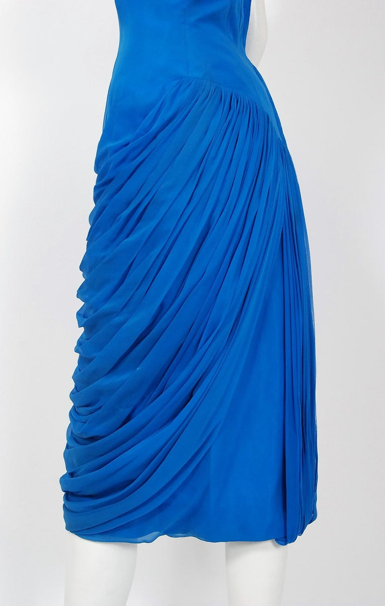 1950's Lilli Diamond Sapphire Blue Chiffon Rhinestone Draped Cocktail Dress  For Sale 1