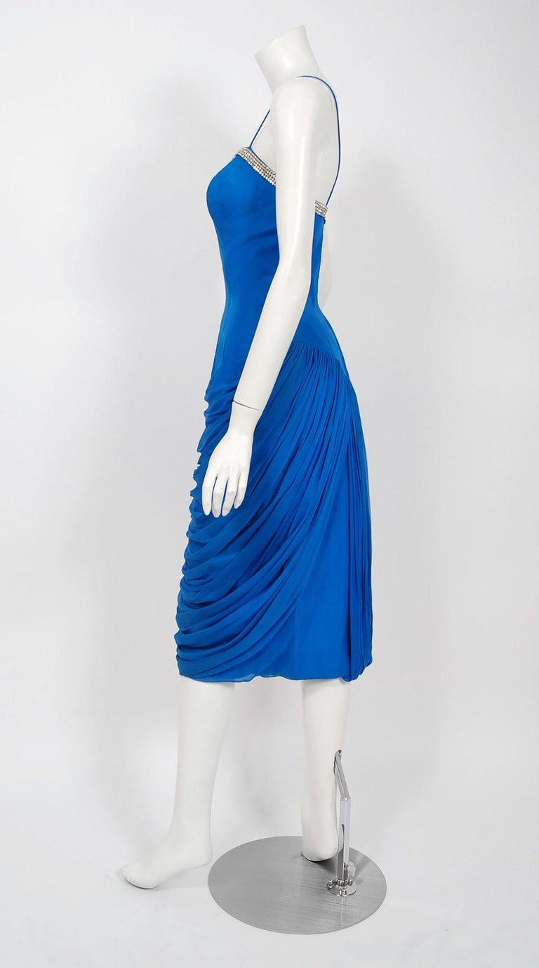 Women's 1950's Lilli Diamond Sapphire Blue Chiffon Rhinestone Draped Cocktail Dress  For Sale