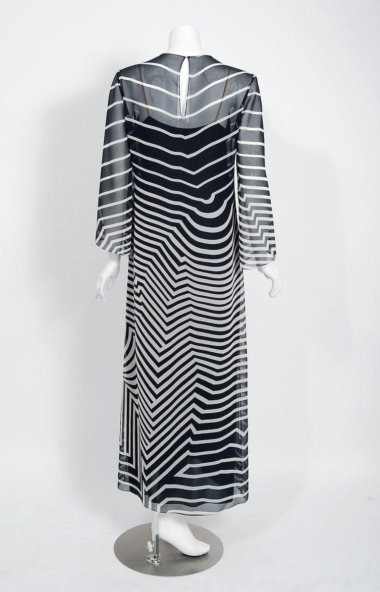 Halston Couture Black and White Graphic Illusion Silk Chiffon Maxi Dress, 1977 For Sale 2