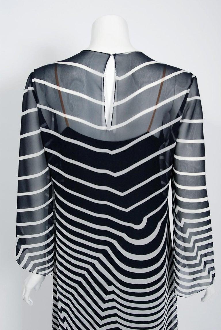 Halston Couture Black and White Graphic Illusion Silk Chiffon Maxi Dress, 1977 For Sale 3