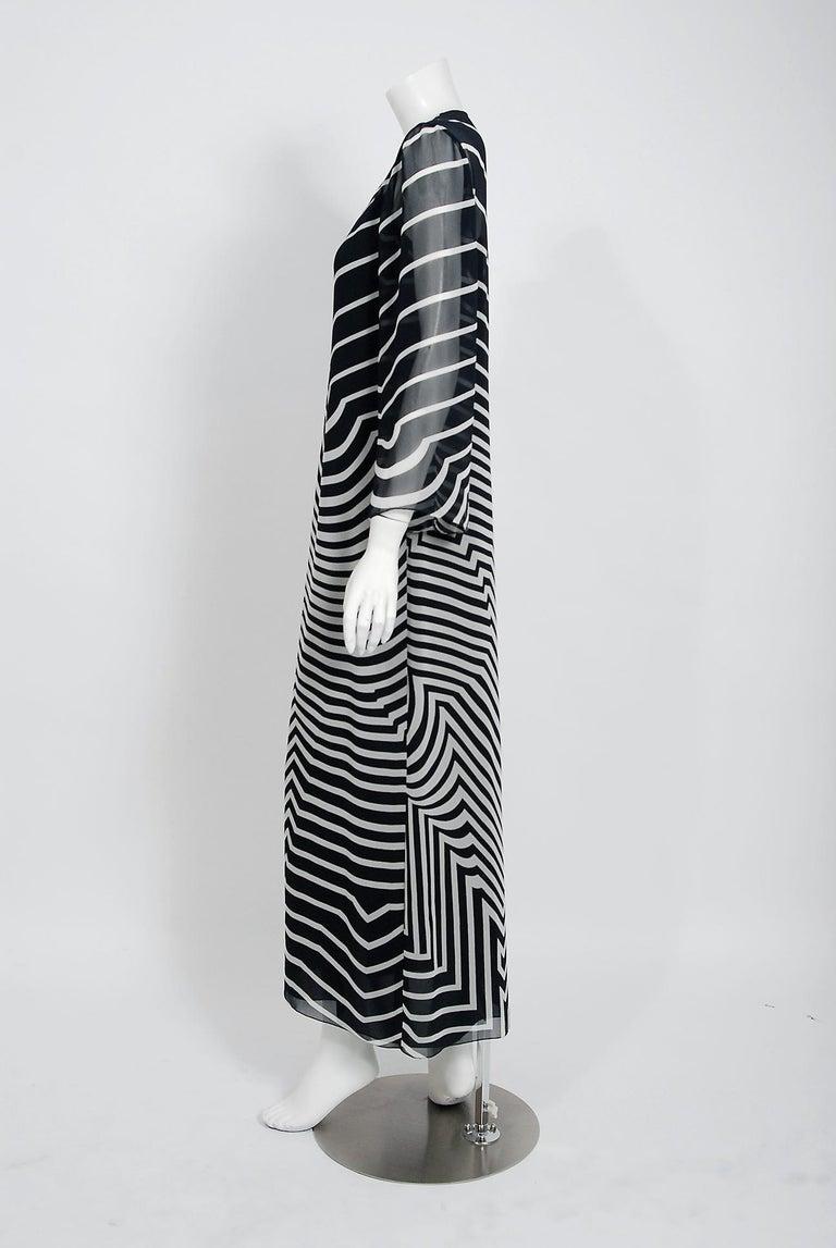 Halston Couture Black and White Graphic Illusion Silk Chiffon Maxi Dress, 1977 For Sale 1