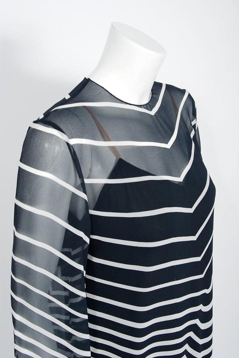 Women's Halston Couture Black and White Graphic Illusion Silk Chiffon Maxi Dress, 1977 For Sale
