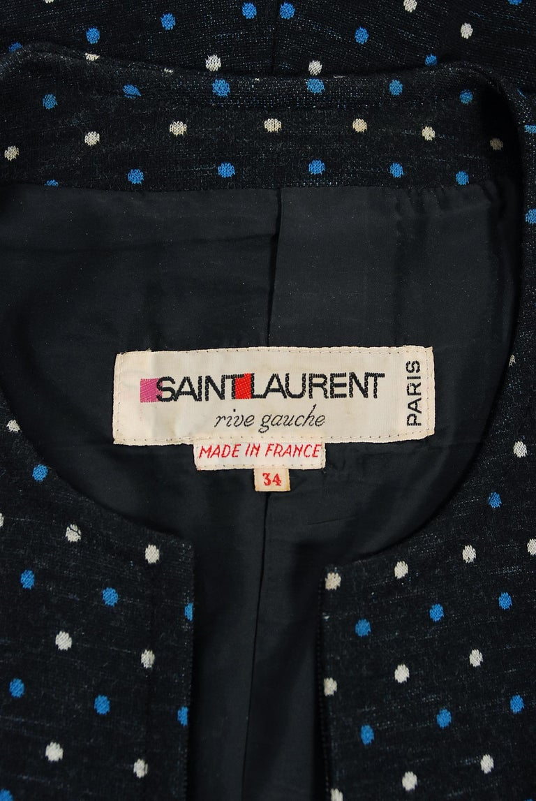 1973 Yves Saint Laurent Rive Gauche Dotted Wool Knit Zip-Up Tailored Jumpsuit For Sale 2