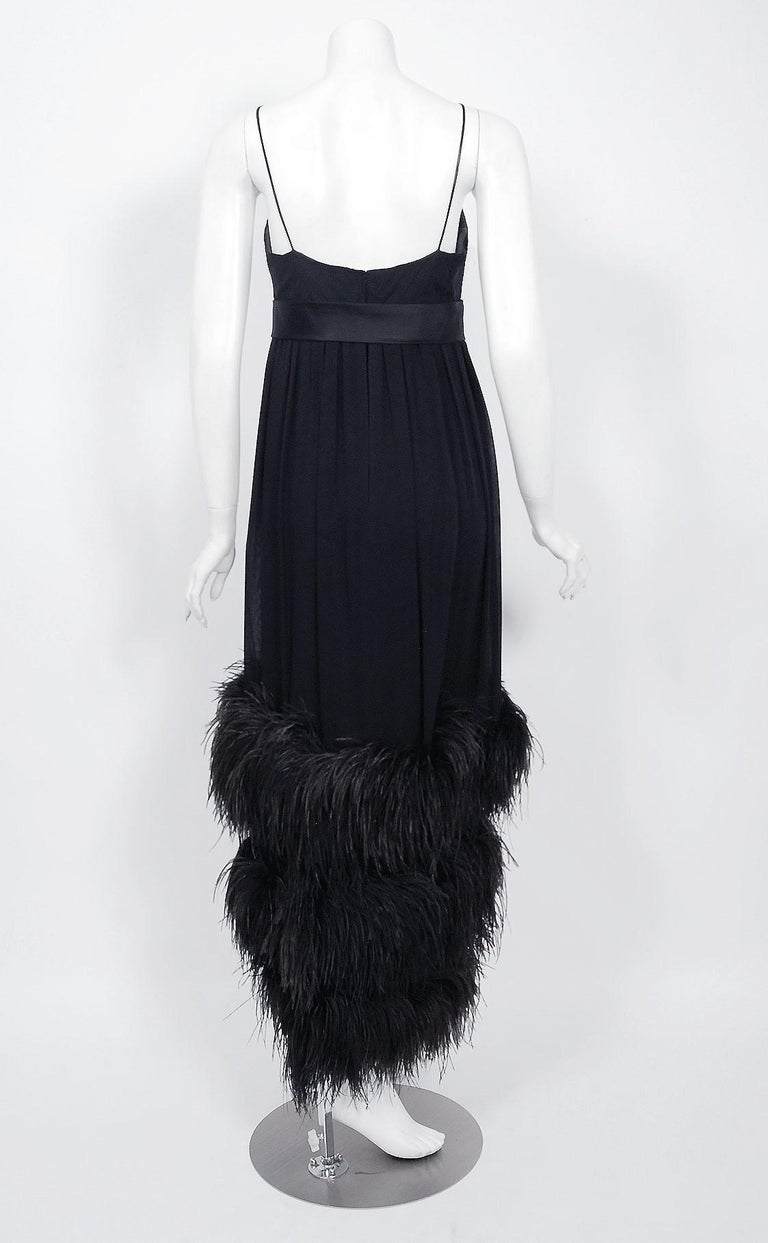 Vintage 1960's Bergdorf Couture Black Silk Ostrich Feather Empire Gown w/ Shawl For Sale 4